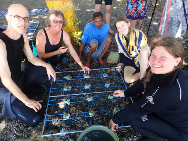 Dive volunteers making a coral table